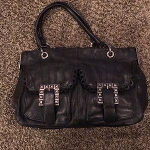 Black Leather Betsey Johnson Studded Satchel